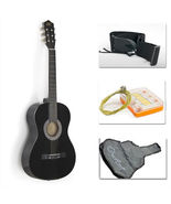Complete Acoustic Guitar With Guitar Case, Strap,Black - $28.99