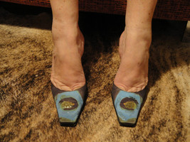 Giuseppe Zanotti Silk Multicolor Slides Mules w/ Abstract Beading Detail... - €81,31 EUR