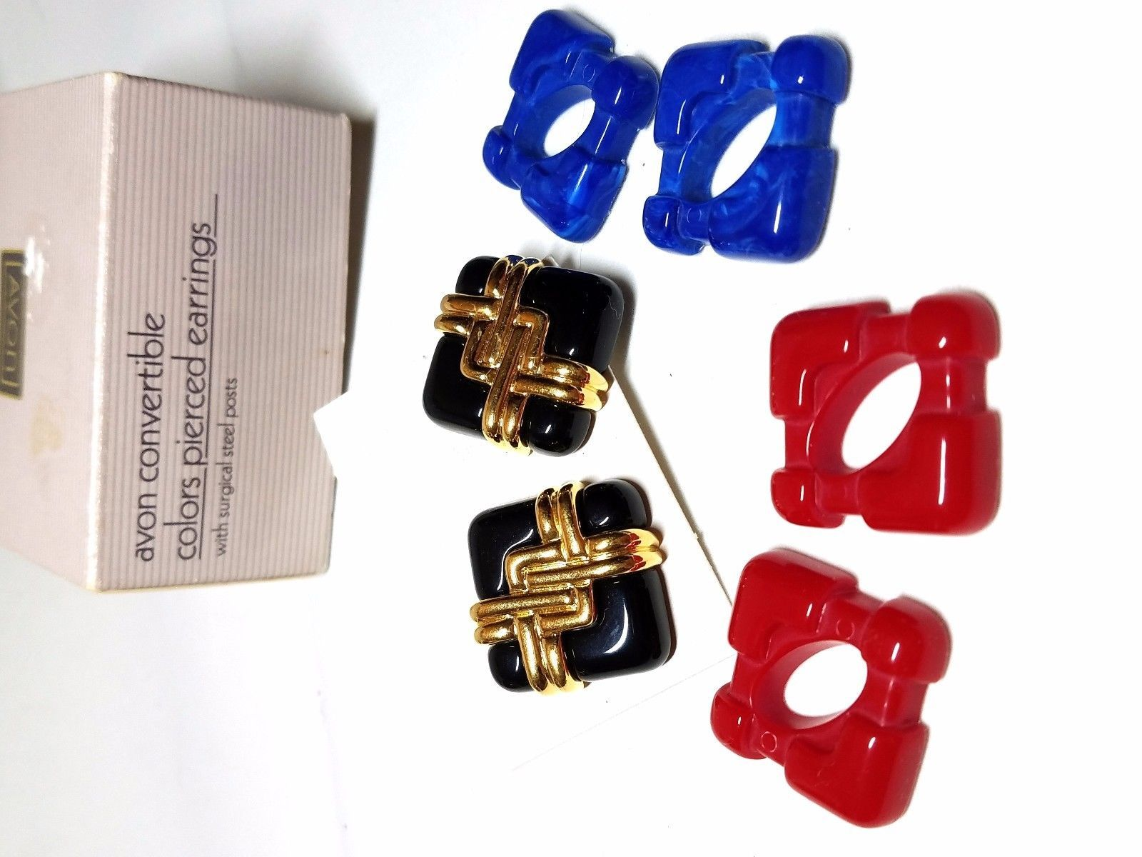 2a710ec4f Avon Convertible Colors Pierced Earrings Vintage Red Blue Black - $18.00