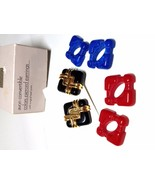 Avon Convertible Colors Pierced Earrings Vintage Red Blue Black - $18.00