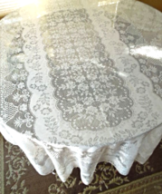 """Lovely White Machine Lace Tablecloth - Approx 92"""" x 62""""  rectangle #5412 - $14.79"""