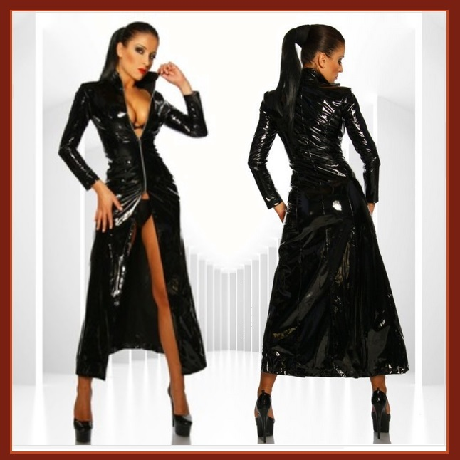 "Goth Black Matrix Trinity Trench Coat Faux Patent Leather ""Wet Look"" Front Zips"