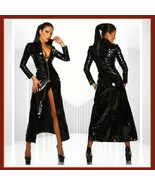 "Goth Black Matrix Trinity Trench Coat Faux Patent Leather ""Wet Look"" Fro... - $97.95"