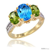 An item in the Jewelry & Watches category: Size 7.5 - 14K Yellow Gold Ladies 3-Stone Oval Natural Swiss Blue Topaz Ring