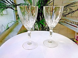 Set of 2 Cris D' Arques Crystal Stemware Wine Goblets CRA69 Pattern - $17.82