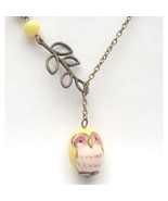Antiqued Brass Branch Butter Jade Porcelain Owl... - $13.99