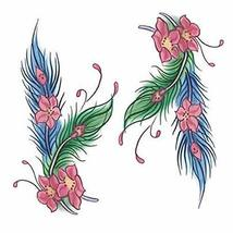 Fashion Tattoo Design Colored Feathers Fake Body Tattoos Temporary Tattoos