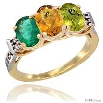 Size 8 - 10K Yellow Gold Natural Emerald, Whisky Quartz & Lemon Quartz R... - $591.48
