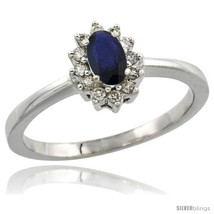 14k white gold   5x3 mm   halo engagement created blue sapphire ring w 0.12 carat brilliant cut diamonds 0.20 carat oval cut thumb200
