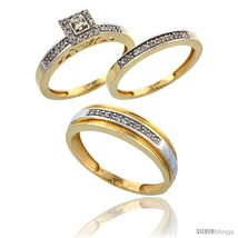 14k gold 3 piece trio his  6mm  hers  2.5mm  diamond wedding band set w 0.33 carat brilliant cut diamonds style ljy201w3 thumb200