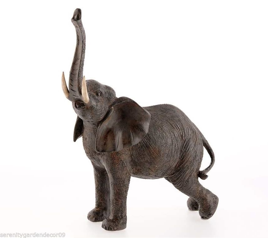 "12"" Majestic Elephant w Extended Trunk Mantle Statue Figurine Brown Polystone"