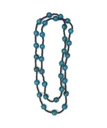 TURQUOISE BLUE HANDMADE LONG BEADED SEEDED  NECKLACE - $15.13