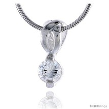 High Polished Sterling Silver 9/16in  (14 mm) tall Pendant, w/ 5mm Brilliant Cut - $33.95