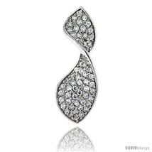 An item in the Jewelry & Watches category: Sterling Silver Swirl Pendant, w/ Brilliant Cut CZ Stones, 1 3/8in  (36 mm) tall