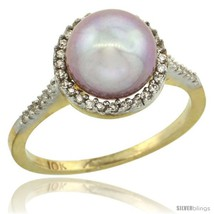 Size 7 - 14k Gold Halo Engagement 8.5 mm Pink Pearl Ring w/ 0.146 Carat  - $266.89
