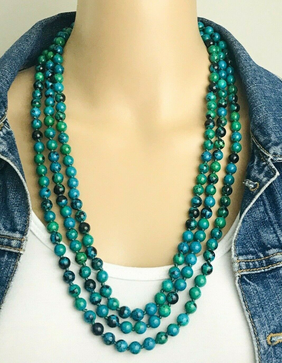 "Primary image for Vintage Blue Green Jasper Hand Knotted Beaded Flapper Infinite Necklace 82"" Long"
