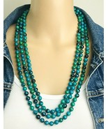 "Vintage Blue Green Jasper Hand Knotted Beaded Flapper Infinite Necklace 82"" Long - $27.72"