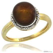 Size 5 - 14k Gold Halo Engagement 8.5 mm Brown Pearl Ring w/ 0.022 Carat  - $387.26