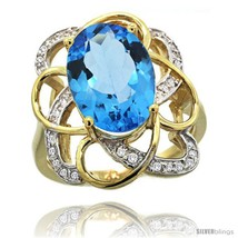14k gold natural swiss blue topaz floral design ring 13x 19 mm oval shape diamond accent 78inch wide thumb200