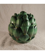 Ceramic Plentiful Pantry Green Artichoke Dish With Lid - Artichoke Dip D... - $12.82