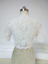 Button Down Short Sleeve Lace Shirt Wedding Bridal Plus Size Crop Lace Shirts image 2