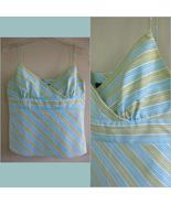 J Crew 100% cotton cami Striped 8 Empire Lime g... - $21.99