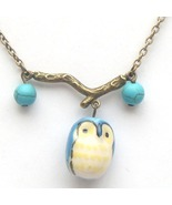 Antiqued Brass Branch Turquoise Porcelain Owl N... - $13.99