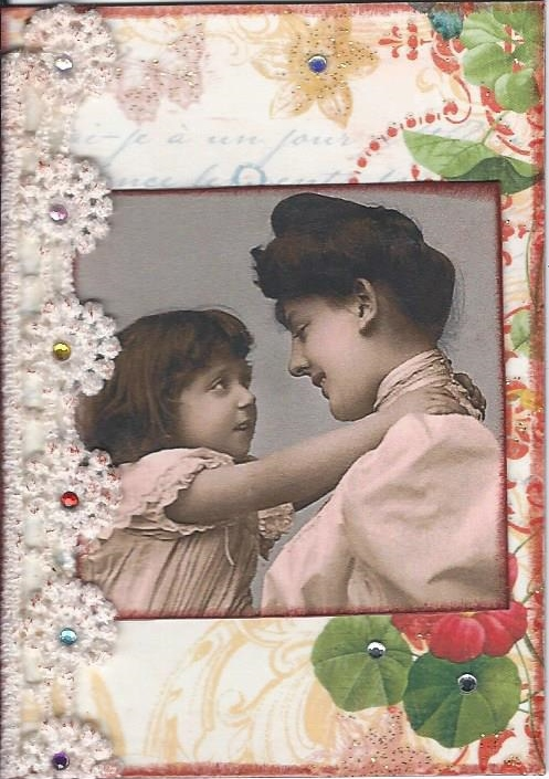 Primary image for ACEO ATC Art Collage Women Mother Ladies Child Daughter Sister Family Mama Hug