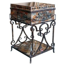 FABULOUS PALERMO REVERSED PAINTED GLASS TRUNK TABLE WITH IRON SCROLL STAND - $569.25