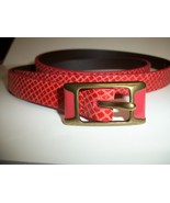 Fossil Brand Python Snake Embossed - L - CORAL Leather Skinny Belt BT40... - $23.00