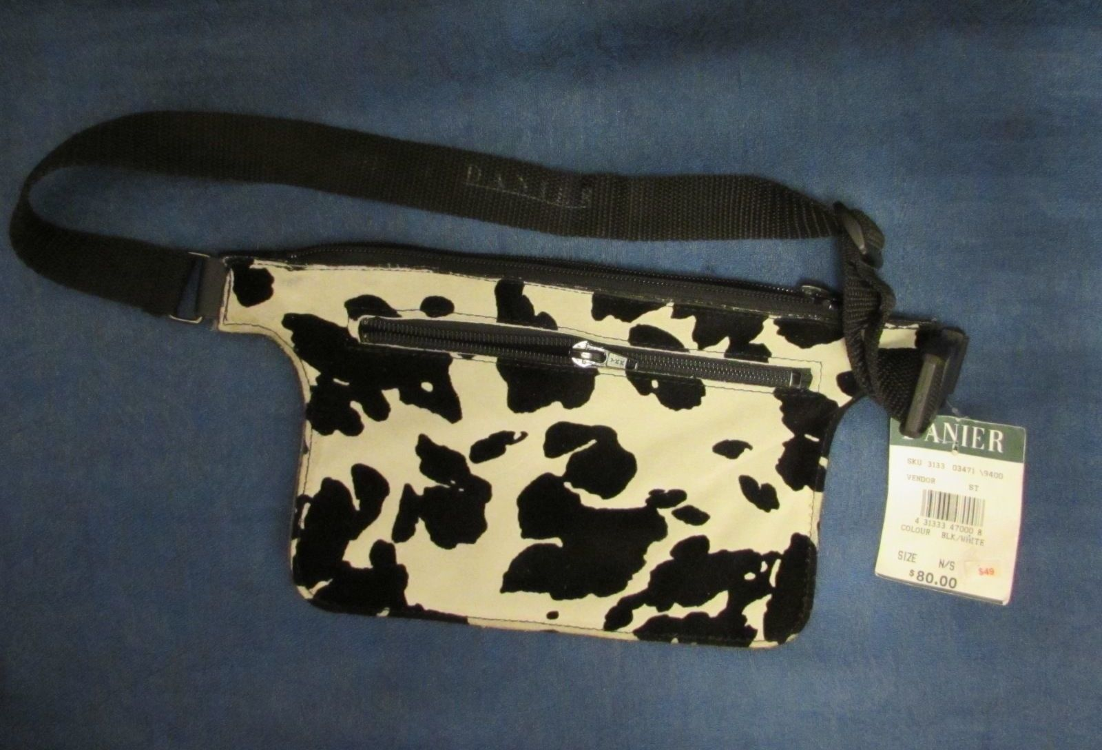 Danier Genuine Leather Waist Pouch/Fanny Pack Color: Black/Pale White Cowhide