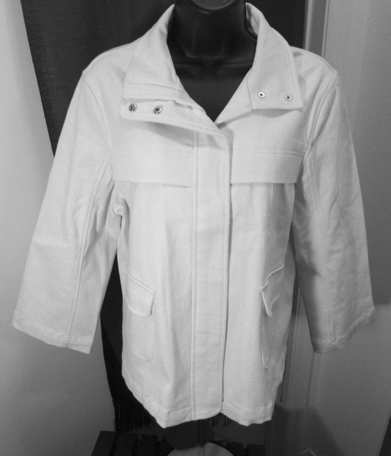 Mel & Lisa Peacoat Women's White Cotton Blend Size: 10