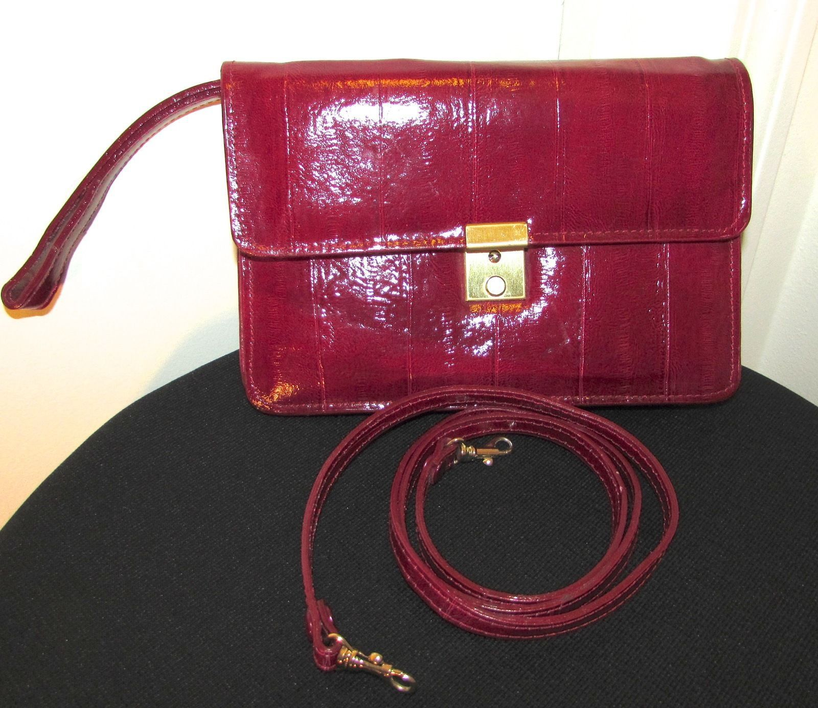 Vintage Vivace Ruby Red Embossed Leather Envelope Clutch Handbag Small
