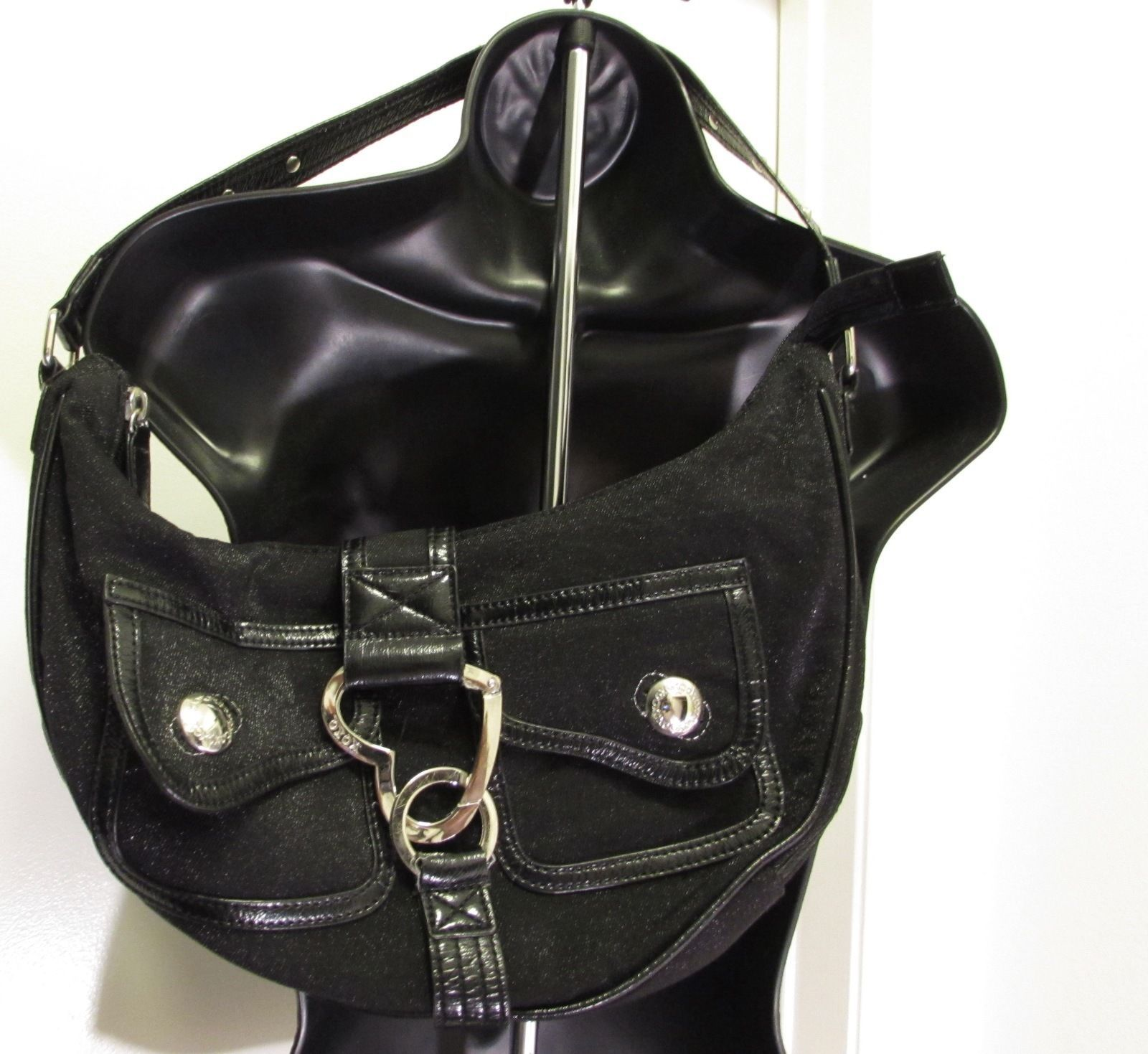 XOXO Accessories Black Shimmer Hobo Handbag with Heart Shaped Logo Closure