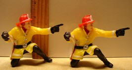 2 Fireman Cake Toppers 1979 Fire Fighter Vintage Wilton #2113-4613 Hong ... - $16.65