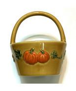 Croft & Barrow Ceramic Basket Fall Collection Pumpkin & Acorns Yellow Or... - $16.83