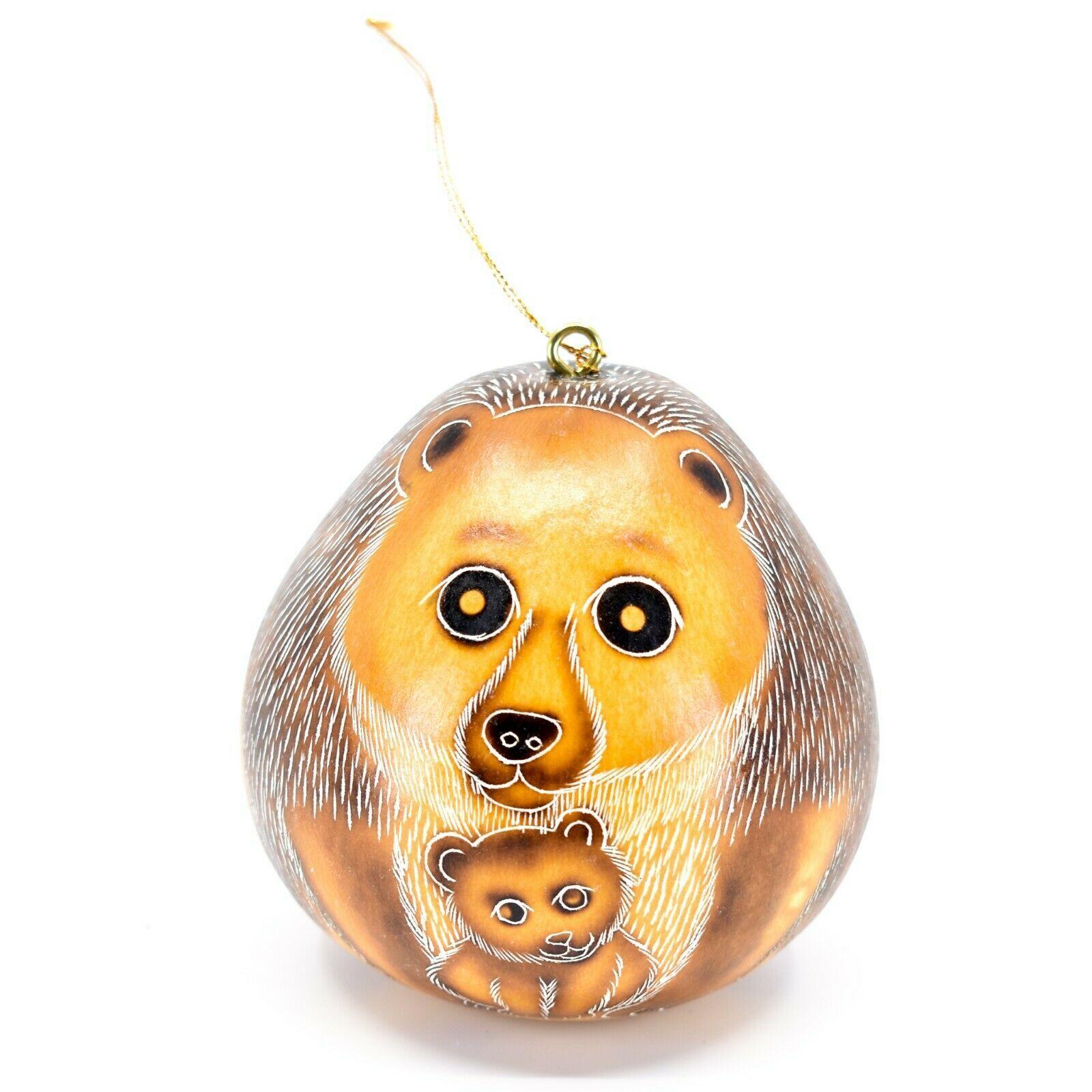 Handcrafted Carved Gourd Art Gorilla Bear Mom w Cub Animal Ornament Made in Peru