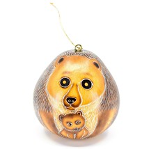 Handcrafted Carved Gourd Art Gorilla Bear Mom w Cub Animal Ornament Made in Peru image 1