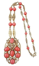 1960s Napier Faux-Coral Runway Couture Pendant Necklace - €296,53 EUR