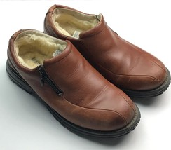 UGG AUSTRALIA Brown Leather Sz 8 Side Sheepskin Lined Zip Slip On Shoes ... - $1.247,87 MXN