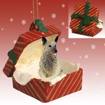 Conversation Concepts Norwegian Elkhound Gift Box Red Ornament - $16.99