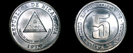 1974 Nicaragua 5 Centavo World Coin - Medal Alignment - $2.99