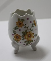 1960's Vintage Porcelain Egg Vase Yellow Flowers // Cracked Egg Footed Vase - $11.00