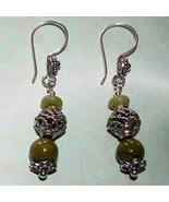 Sterling Silver Nephrite Jade Earrings - $20.00