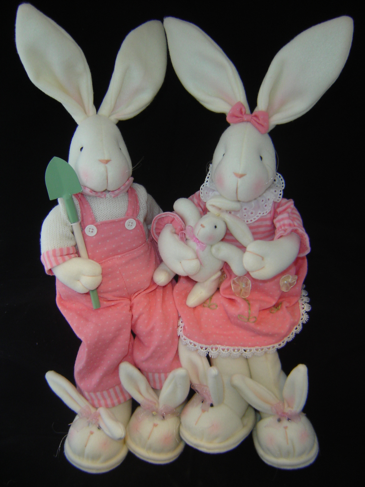 Girl & Boy Soft Body Pink Bunnies - Set of 2 - Sitting