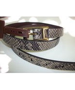 Fossil Brand Python Snake Embossed - L - Dark Smoke Leather Skinny Belt... - $23.90