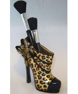 Leopard Stiletto Shoe Cosmetic Brush or Pen Holder NEW - $25.67