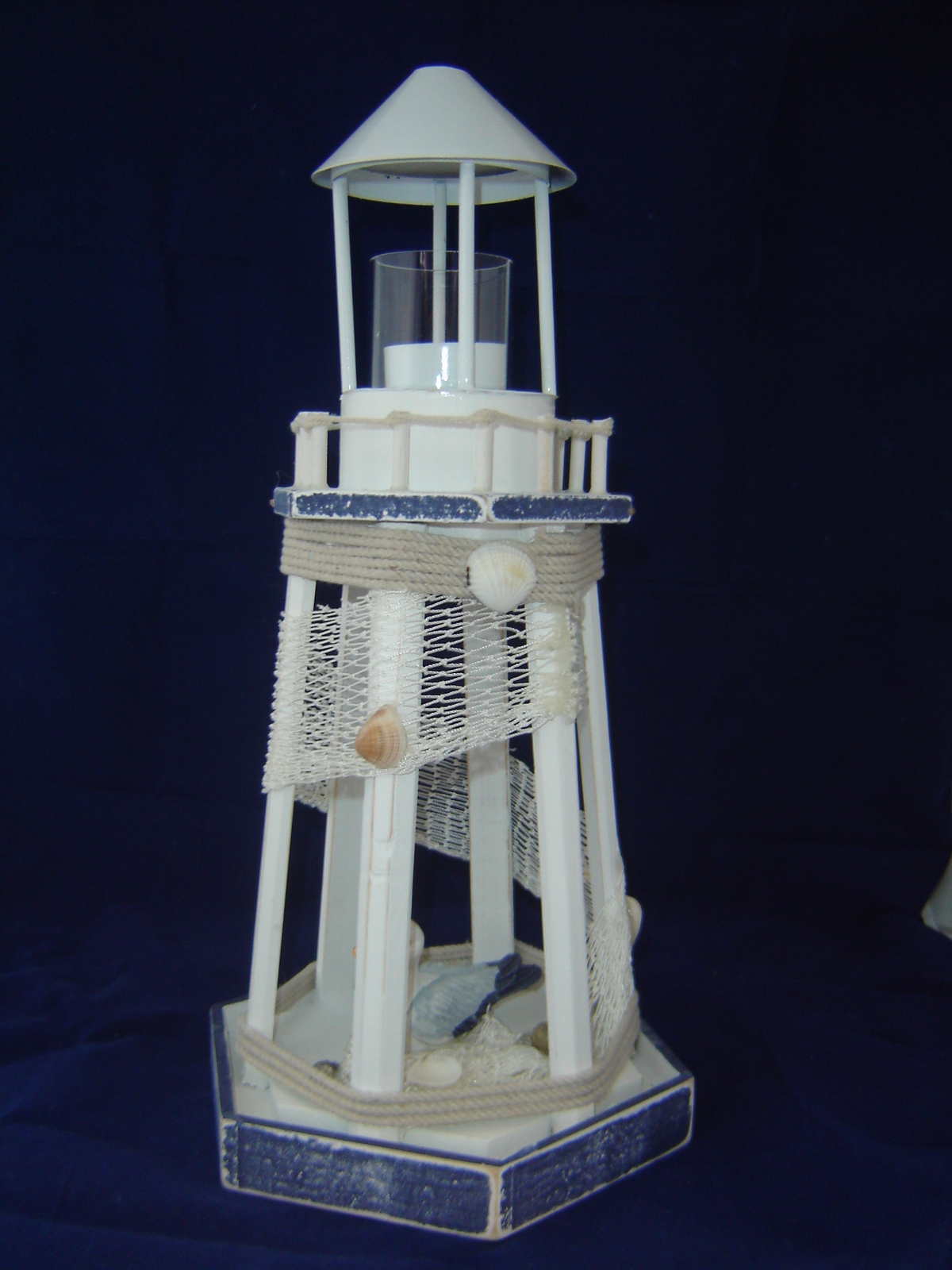 Blue & White Nautical Tealight Lighthouse Wood New