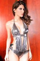 3117 Sexy Neck halter teddy, metallic fabric, free size, fit to s-xl, si... - $39.90