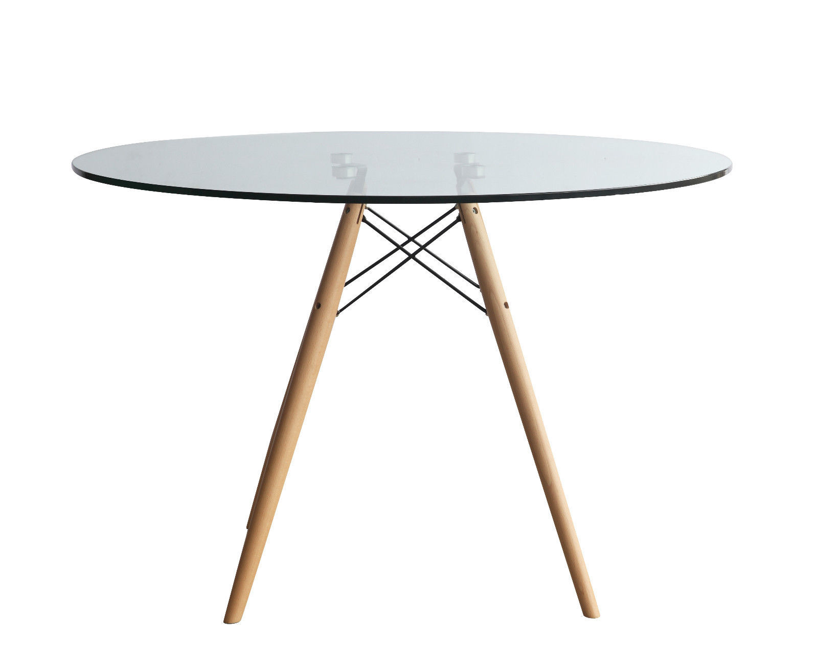 mid century modern eames eiffel style clear glass 42 round dining table dowel tables. Black Bedroom Furniture Sets. Home Design Ideas